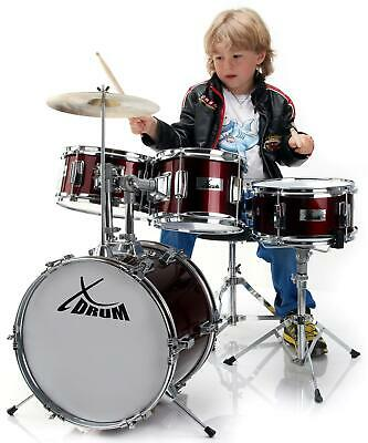 Childrens Drum Kit 14'' for Beginner with Stool Drum Sticks Complete Set Red