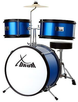 Drum Kit Junior for Children Kids Beginner 7 pcs with Cymbal Stool Pedal Blue