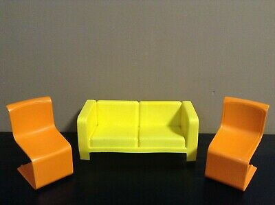 BARBIE DOLL COUCH CHAIR LOT DOLLHOUSE FURNITURE Yellow Orange VINTAGE 1973