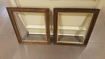 ANTIQUE VICTORIAN SOLID OAK REEDED GILT SLIP PICTURE FRAME about 1890