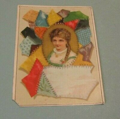 David Mackay Confectionery & Ice Cream Crazy Quilt Victorian Trade Card Antique
