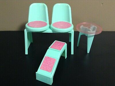 BARBIE DOLL FURNITURE LOT CHAIR END TABLE DOLLHOUSE PART Green 1988 VINTAGE HTF