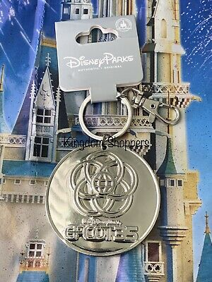 Disney Parks Epcot Center 35th Anniversary Logo Silver Metal Keychain