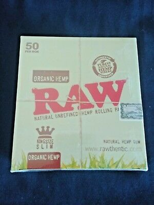 50 x Raw Organic Hemp King Size Slim Rolling Papers Full Box Unrefined 110mm