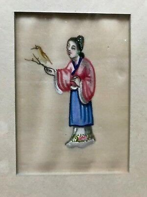 Two Small Antique Chinese Watercolor Pith Rice Paper Paintings with Frames