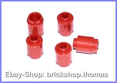 Lego 5 X Pierres Rond Rouge - 3062b - Brique, Rond 1 x 1 Rouge - Neuf / Neuf