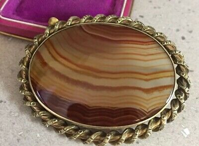 Victorian antique jewellery Fabulous Large Real Banded Agate Brooch