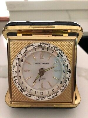 Vintage Phinney-Walker Travel Alarm Clock in Black Leather Case 1965 collectible