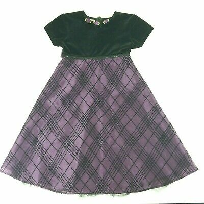Girls Party Holiday Formal Dress 8 Black Velvet Purple Plaid Christmas Size 8