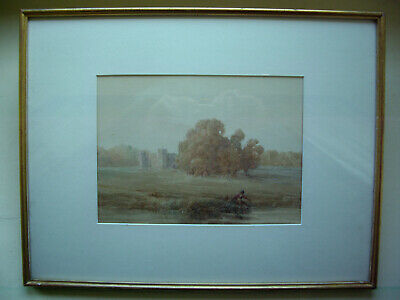 Original antique watercolour picture monogrammed T.C.B and dated 1913