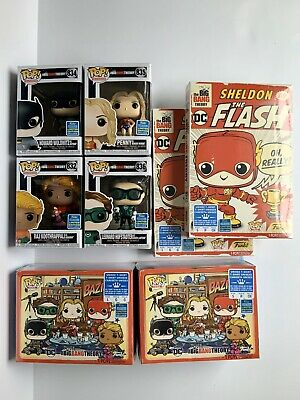 Funko POP! SDCC 2019 The Big Bang Theory Justice League Set w/ Sm & Lg Shirts