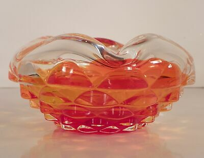 Triangular Stacked Cube Art Glass Ashtray Clear Red Orange