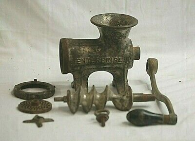 Vintage Antique Enterprise Mfg. Co. Tinned Meat Grinder Chopper No. 12 Cast Iron