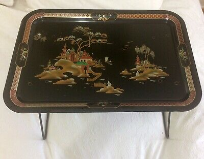 Oriental Design Vintage Retro Worcester Folding Tray Camping Breakfast
