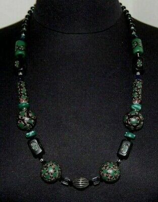 Vintage Painted Wood Bead Necklace *GORGEOUS*