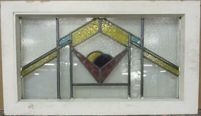 "OLD ENGLISH LEADED STAINED GLASS WINDOW TRANSOM Gorgeous Geometric 31"" x 17.75"""