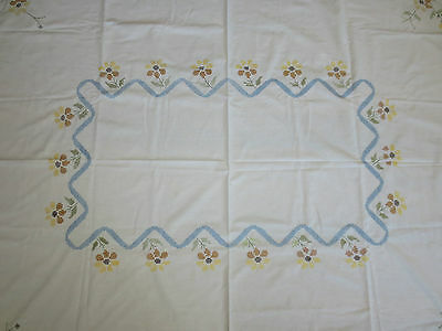 """Vintage FLORAL & RIBBON Stamped CROSS STITCH Cotton Tablecloth - 56"""" x 66"""""""