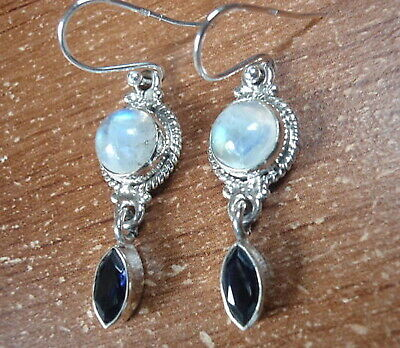 Faceted Iolite and Moonstone Double Gem 925 Sterling Silver Dangle Earrings