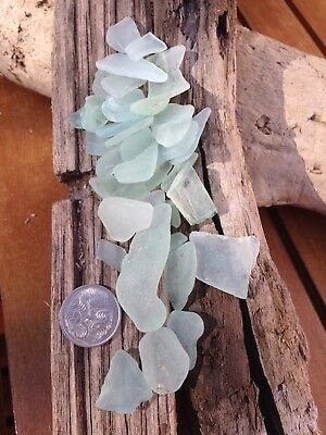 Genuine Melbourne Bayside Natural Sea Glass Beach Glass - Small Bluish White