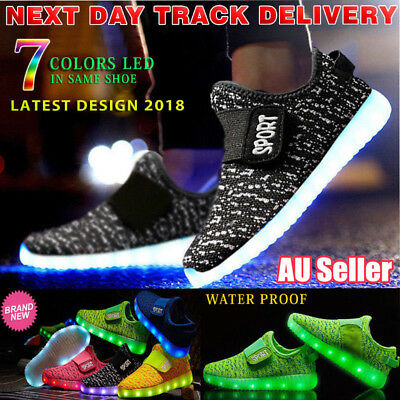 Kids Boys Girls Light Up USB Charging LED Shoes Flashing Sneakers Trainers Shoes