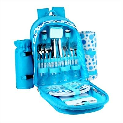 New Confidence Picnic Backpack Hamper Bright Blue Polkadots Inc Plates, Cutlery
