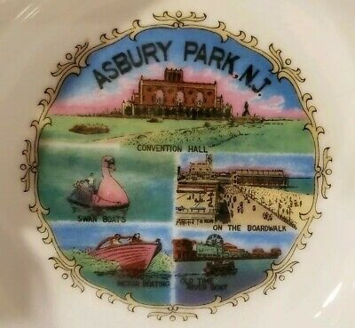 "ASBURY PARK, New Jersey  Gold Trim Ashtray  5"" Round  Vintage Souvenir  5 ports"
