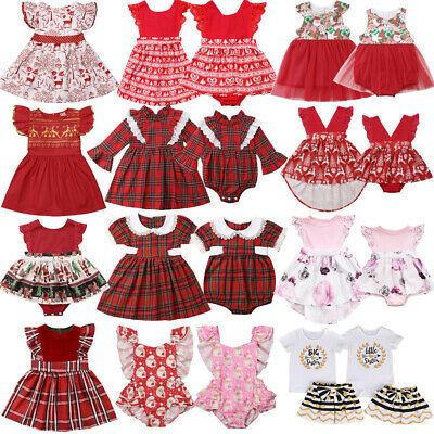 AU Christmas Sister Matching Clothes Baby Girls Deer Romper Jumpsuit Party Dress