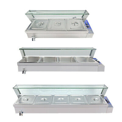 3/4/5 Pans Electric Bain Marie Commercial Buffet Heat Food Warmer Glass Cover