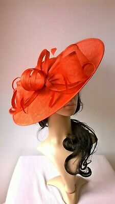 New Burnt orange Sinamay Bow trim Hatinator.hat.Large saucer disc Wedding.races.
