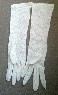 Stunning Long Lace Ivory Gloves New One Size