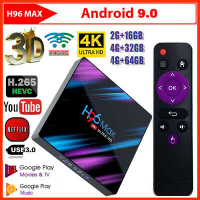 H96 Max Smart TV Box 4G+64G Android 9.0 WiFi Quad-Core HD 1080P 4K Media Player