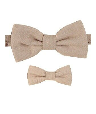 Mens Kids Boys Matching Herringbone Tweed Dickie Bow Tie in Beige