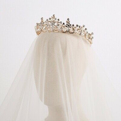 Crystal Bridal Tiara, Gold Headpieces, Rhinestone Wedding Hair Accessories