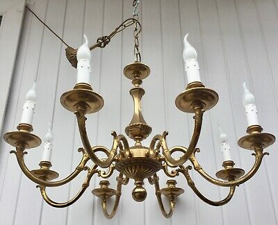 Large Heavy Vintage Antique Gilt Brass Rococo 8 Branch Chandelier, Ready To Hang