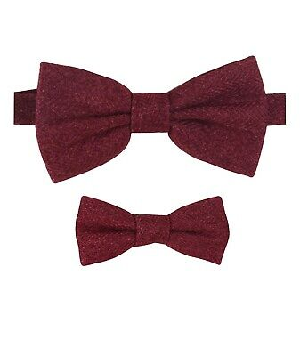 Mens Kids Boys Matching Herringbone Tweed Dickie Bow Tie in Burgundy