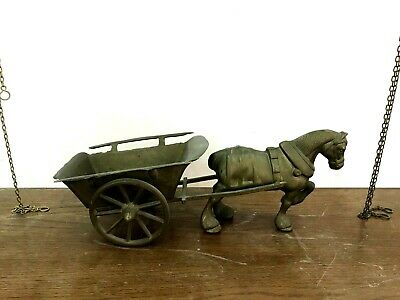 """Rare Old Handmade Antique Brass Figurine For Horse And Movable Cart 17.7"""" Length"""