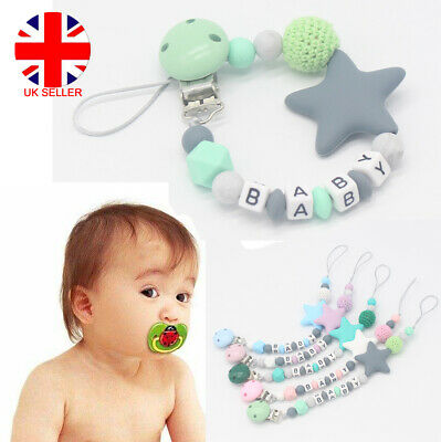 Dummy Clips Baby Teeth Chain Holder Pacifier Teething Strap Silicone Star Beads