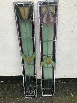 "Vintage Leaded Stain Glass Windows 43 3/4"" X  6 3/4"" In Great Condition"