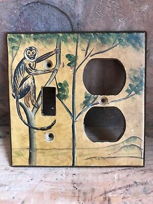 Vintage Hand Painted Monkey In A Tree Light Switch Outlet Cover