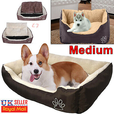 Pet Bed with Fleece Soft Comfy Fabric Washable Cat Dog Puppy Warm Kennel Basket