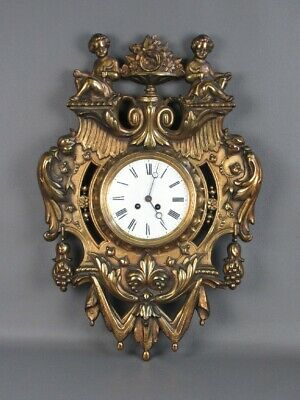 Antique Wall Clock with Frame Bronze Golden France 1800