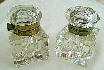 Pair Of Stunning Antique Large Cut Glass Inkwells With Brass Collars