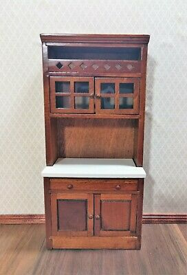 Dollhouse Miniature Kitchen Cupboard Hutch Display Cabinet w/Counter 1:12 Scale