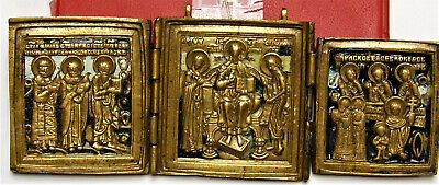 Russian Orthodox travel icons triptych bronze castings, Lord Pantocrator,  multi