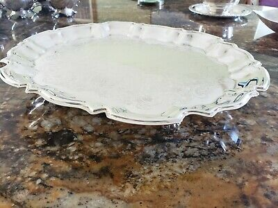 "13.5"" Vintage Leonard Silverplate Round Serving Tray Footed"