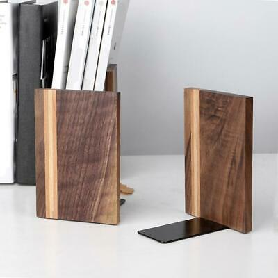 Pair of Universal Wooden Bookends Non-Skid Black Walnut Office Book Ends Stand