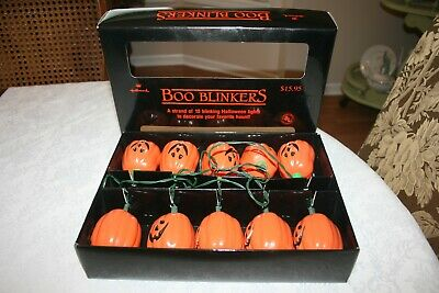 Hallmark Boo Blinkers 10 Blinking Halloween Jack O Lantern Lights Original Box