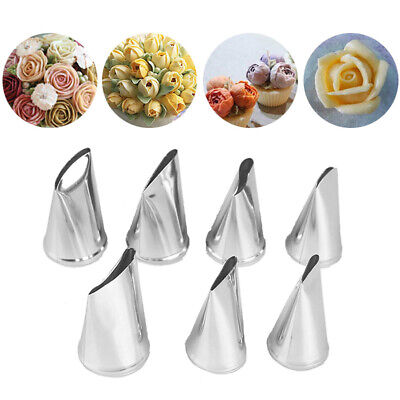 7pcs/set Cake Decorating Tips Cream Icing Piping Rose Tulip Nozzle Pastry Too lc
