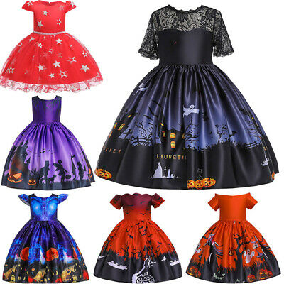 Kids Fashion Girls Witch Lace Princess Party Dress Halloween Costume Dresses