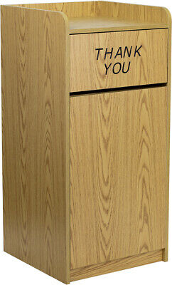 New Oak Laminate Commercial Waste Trash Wood Receptacle Can Bin Holder Tray Top
